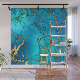 Gold And Teal Blue Indigo Malachite Marble  Wall Mural