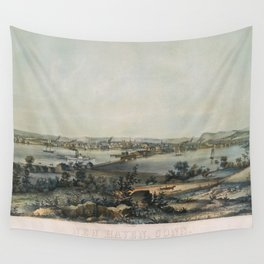 Vintage Pictorial Map of New Haven CT (1849) Wall Tapestry