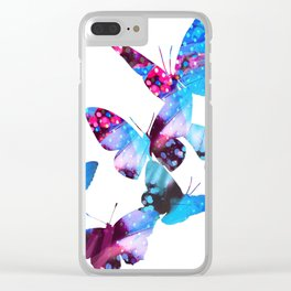 Electric Blue Butterflies Clear iPhone Case