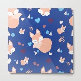 Navy sleeping fox in Wood Metal Print