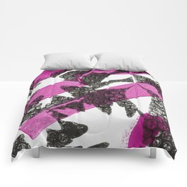 Modern Botanical Laurel Oak Monoprint Pink and Black Comforters