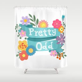Pretty Odd Floral Banner Shower Curtain