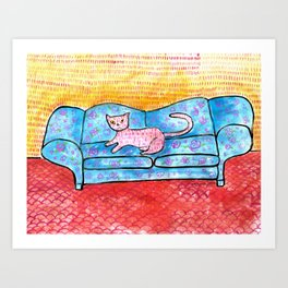 Colorful Cat Sitting on Colorful Sofa Art Print