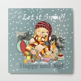 Christmas childish illustration with bear and snow Metal Print