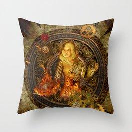 Wonderful steampunk lady Throw Pillow