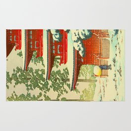 Vintage Japanese Woodblock Print Japanese Shinto Shrine Red Pagoda With Snow Capped Trees Rug