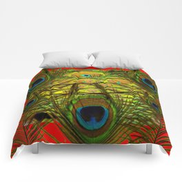 RED-GREEN PEACOCK FEATHERS ART Comforters