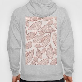 Abstract pink rose gold glitter foliage leaf pattern Hoody
