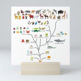 Evolution scale from unicellular organism to mammals. Evolution in biology, scheme evolution Mini Art Print