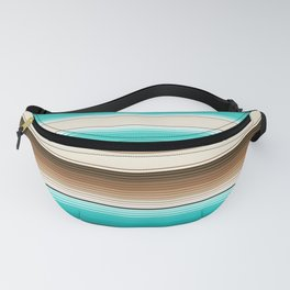 Teal, Brown and Navajo White Southwest Serape Blanket Stripes Fanny Pack