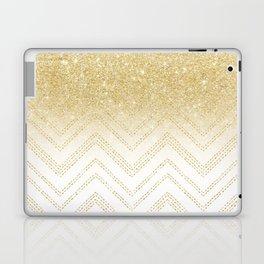 Modern gold ombre chevron stitch pattern Laptop & iPad Skin