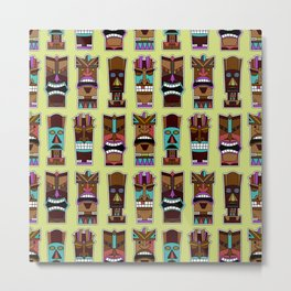 Colorful Tiki Mask Pattern Metal Print