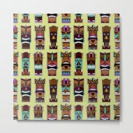 Colorful Tiki Mask Pattern Metal Print