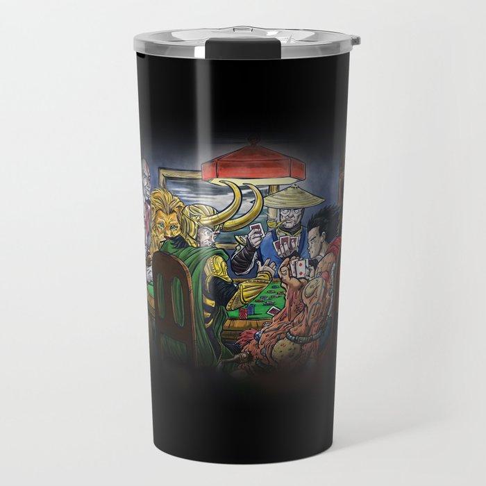 Gods Playing Poker Travel Mug