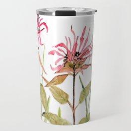 Flowers Bee Balm Pink Garden Wildflowers Nature Art Travel Mug