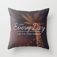 taco Throw Pillows featuring Taco Tuesday by Zeke Tucker