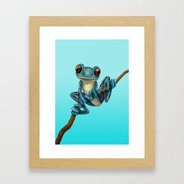 Cute Blue Tree Frog on a Branch Framed Art Print