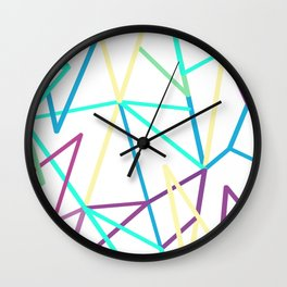Abstraction. Neon colorful triangles. Wall Clock