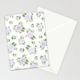 Botanical lavender white green watercolor floral Stationery Cards