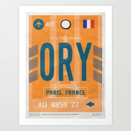 Vintage Paris Orly Luggage Tag Poster Art Print