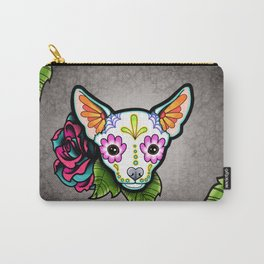Chihuahua in White - Day of the Dead Sugar Skull Dog Carry-All Pouch