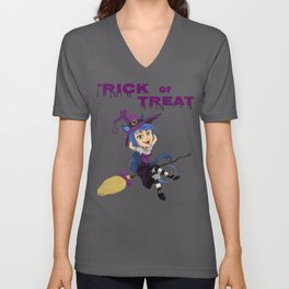 Trick or Treat Halloween Witch on Broomstick Unisex V-Neck