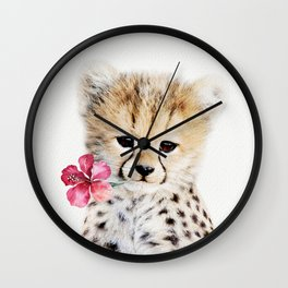 Baby Cheetah with Tropical Flower Wall Clock