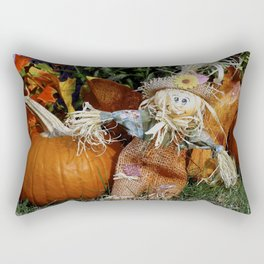 Cute Little Scarecrow and pumpkin Rectangular Pillow