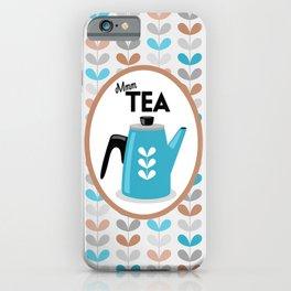 Mid Century Modern Tea Kettle Typography // Terra Cotta, Peach, Gray, Blue, Black and White iPhone Case
