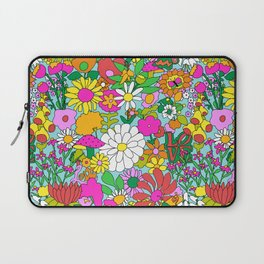 60's Groovy Garden in Blue Laptop Sleeve