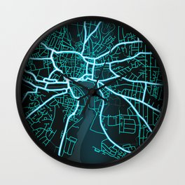 Ipswich, England, Blue, White, Neon, Glow, City, Map Wall Clock