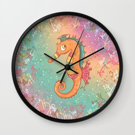 Sparkly Little Seahorse Wall Clock