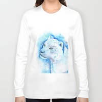 snow leopard Long Sleeve T-shirts featuring Snow Leopard by Georgia Roberts