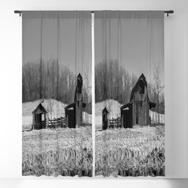 Days Gone By - Old Arkansas Barn in Black and White Blackout Curtain