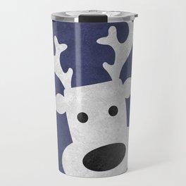 Christmas reindeer blue marble Travel Mug