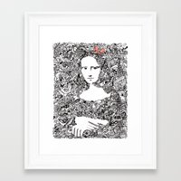 mona lisa Framed Art Prints featuring Mona Lisa by Gribouilliz