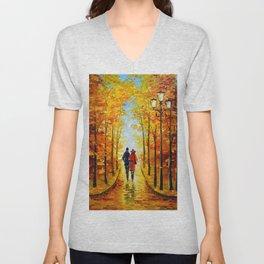 Autumn walk in the Park Unisex V-Neck