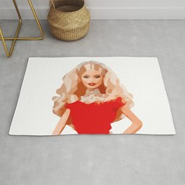 Christmas Doll in Red Dress Vector Art Rug