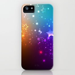 Rainbow Background with Stars iPhone Case