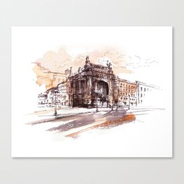 Art Nouveau building / watercolor and ink. Canvas Print