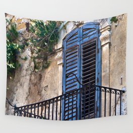 Blue Sicilian Door on the Balcony Wall Tapestry