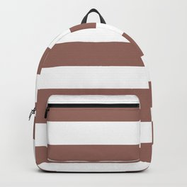 Dark chestnut - solid color - white stripes pattern Backpack