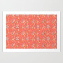 Vintage Florals - Living Coral Art Print