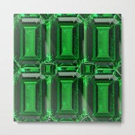 FACETED GREEN EMERALD MAY GEMSTONE ART Metal Print