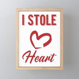 Matching Boyfriend Fiance Engagement Party I Stole Her Heart Framed Mini Art Print