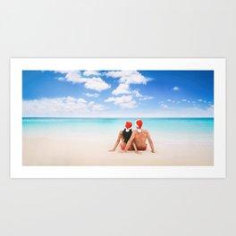 Christmas beach vacation couple on Hawaii Art Print