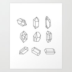 Black Crystal Rocks Geometric Gemstones Art Print