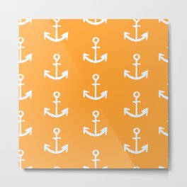 Anchors - Orange Metal Print