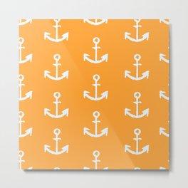 Anchors - Orange Metal Print