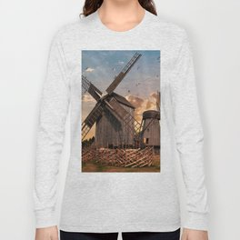 Traditonal dutch windmills at sunrise Long Sleeve T-shirt